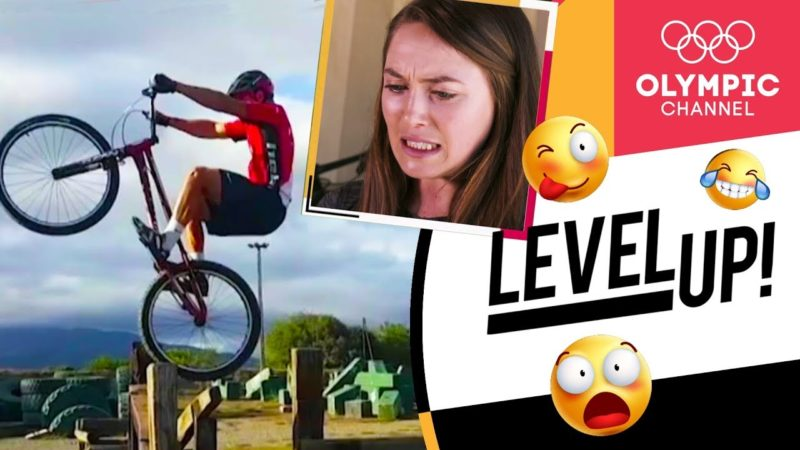 Cycling world champion reacts to crazy mountain biking videos (ft. Kate Courtney) | Level Up!