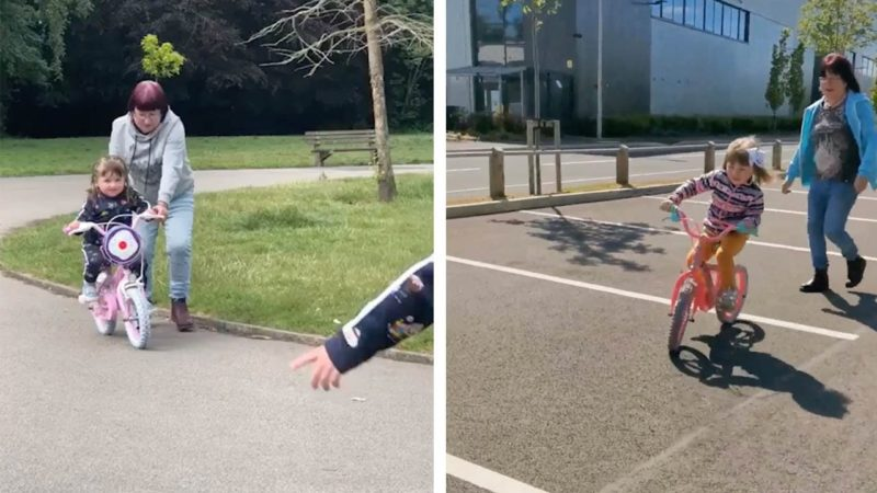 Nan Teaches Grandkids How To Ride Bikes During Lockdown