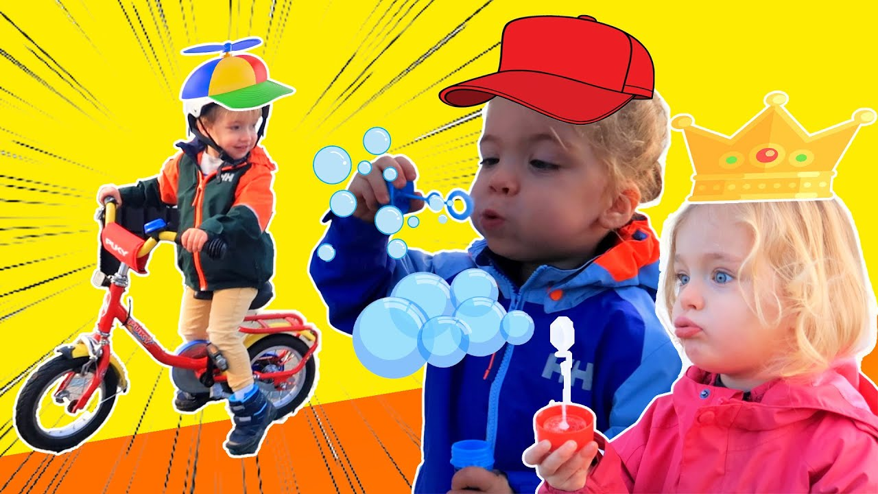 KIDS PLAY WITH BUBBLES AND RIDE KIDS BIKES | TRIPLETS | KIDS SHOW