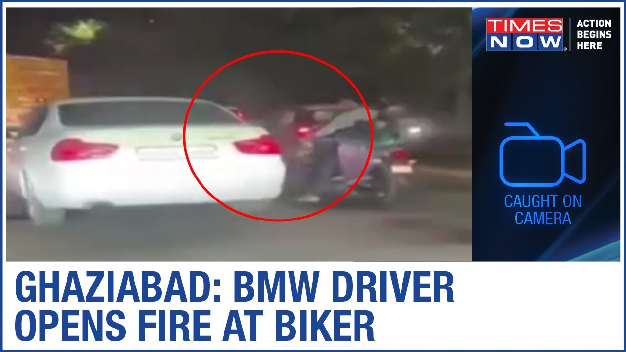 Ghaziabad: BMW driver fires at biker, video goes viral   Caught on Camera