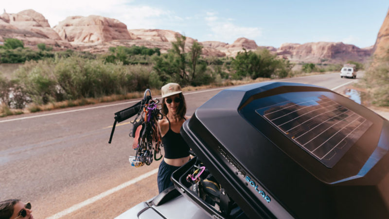 Yakima CBX Solar rooftop cargo box stores goods and powers your camp