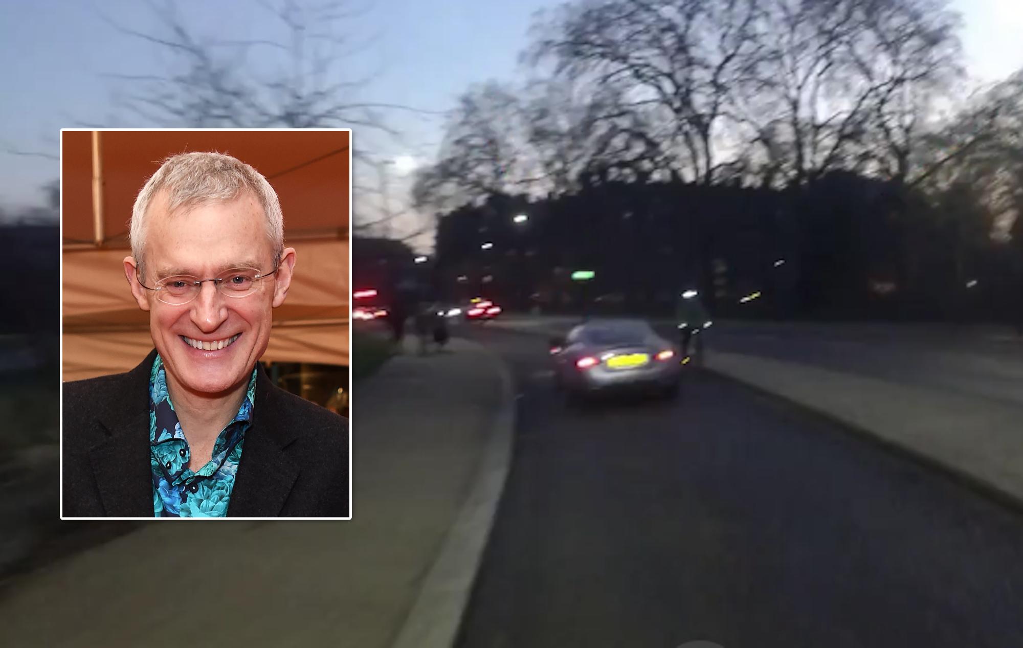 Jeremy Vine video l'automobilista che guida sulla pista ciclabile di Hyde Park e sul marciapiede