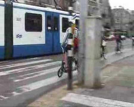 Weird Sideways Bike in Amsterdam