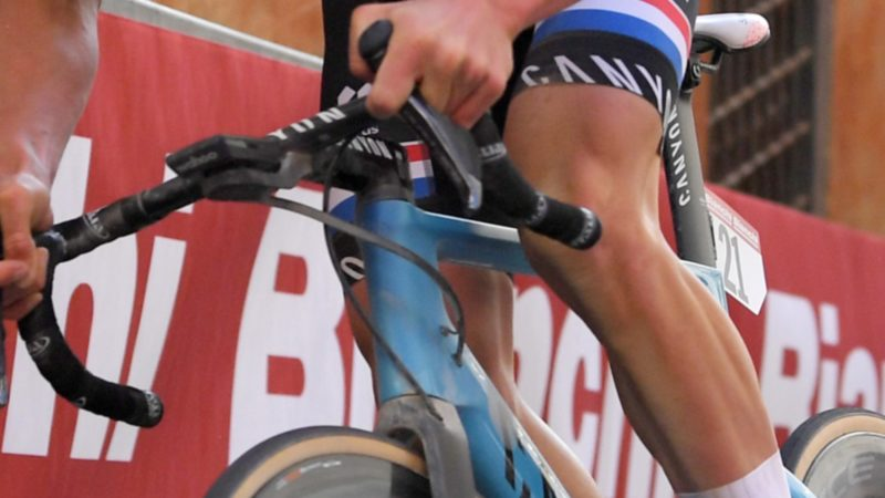 Van der Poel raced Strade Bianche on a drilled Canyon Aeroad CFR frame