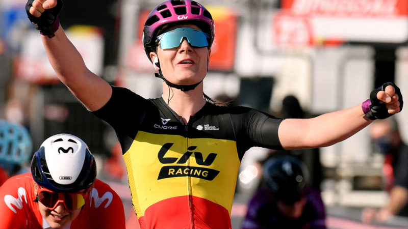 Lotte Kopecky wins Le Samyn des Dames after a confident sprint on home roads