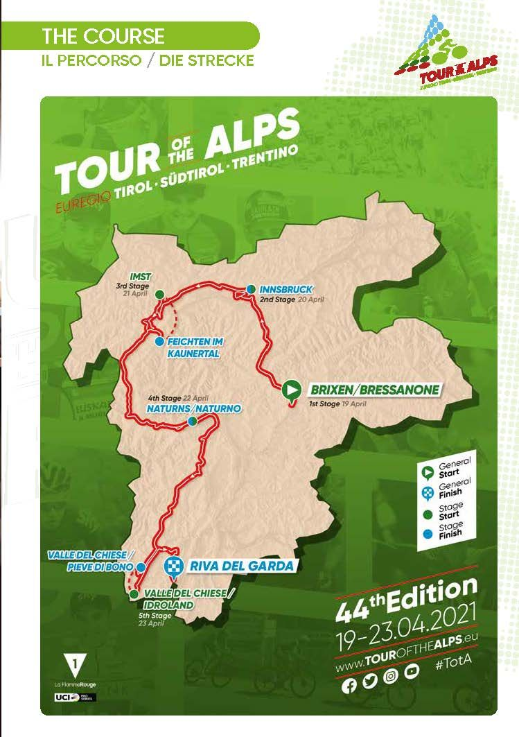 Tour of the Alps 2021 map