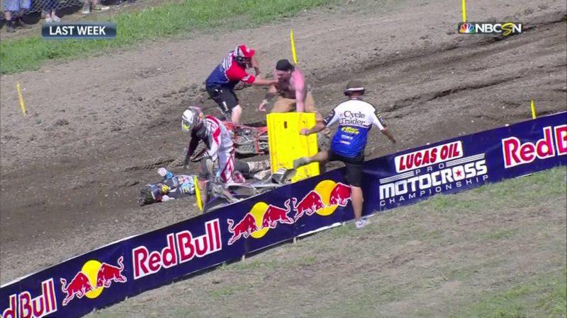 Cody Williams pulls bike off Jessy Nelson at Unadilla