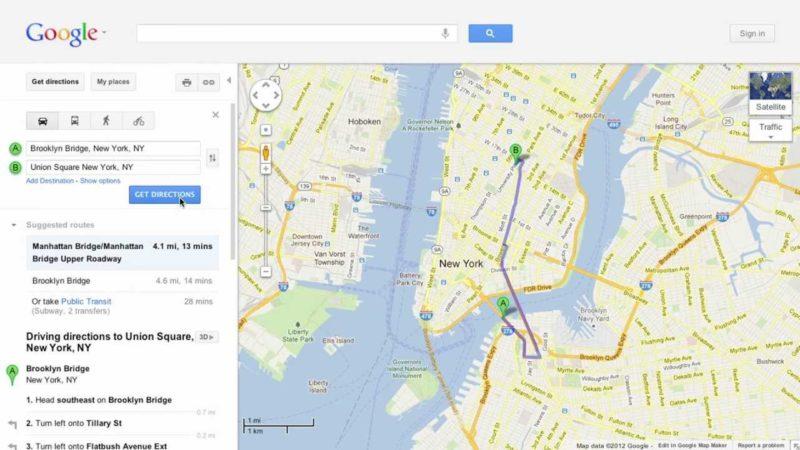 Biking Directions in Google Maps