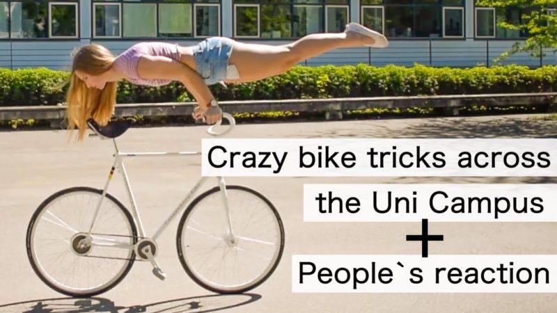 Bike Tricks Violalovescycling: Biking across my Uni Campus in Hohenheim (Germany)