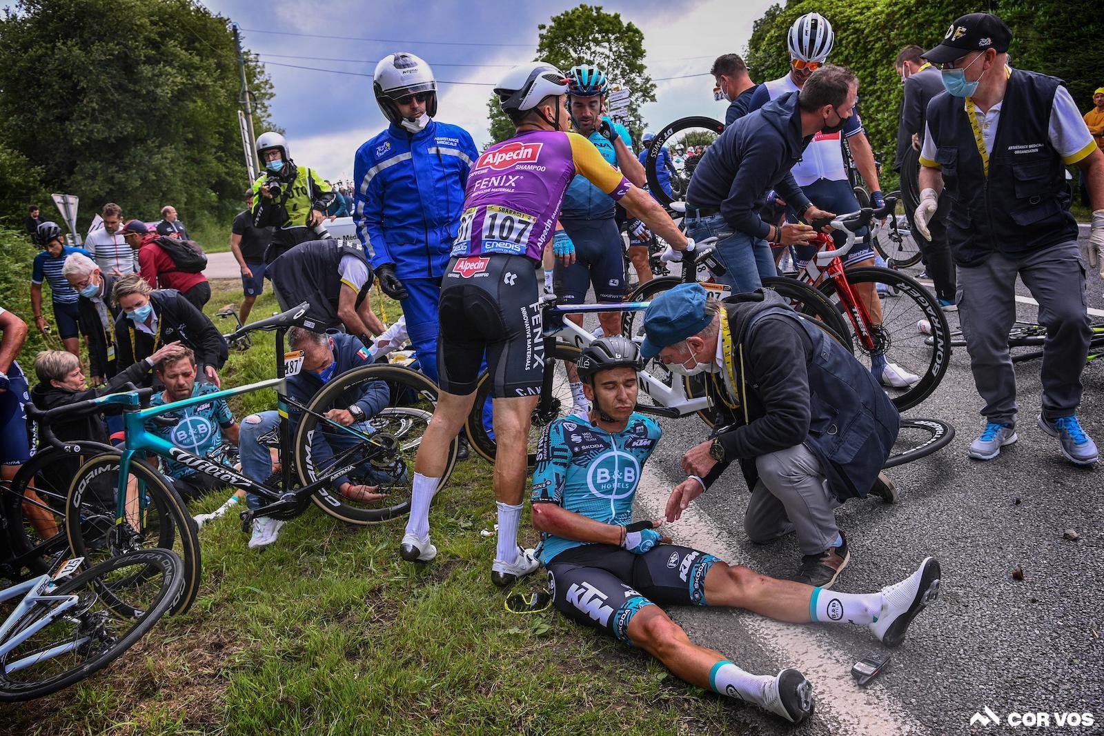 21 ryttere blev såret på etape 1 i Tour de France