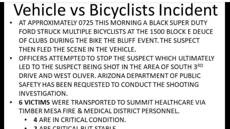 Arizona police shoot driver who allegedly drove into cyclists at bike race