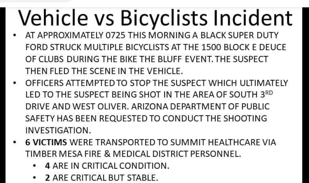 La policía de Arizona dispara a un conductor que supuestamente chocó contra ciclistas en una carrera de bicicletas