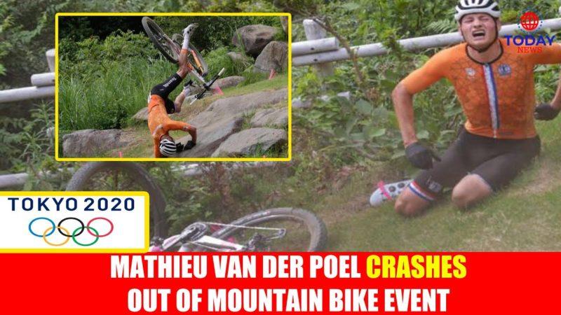 Mathieu van der Poel crashes out of mountain bike event
