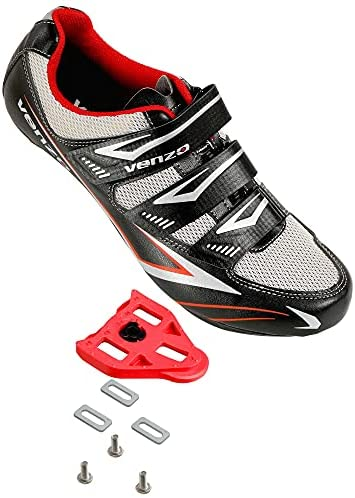 Venzo Bicycle Men's Road Cycling Riding Shoes – 3 Straps- Compatible with Peloton Shimano SPD & Look ARC Delta – Perfect for Road Racing Bikes White Color