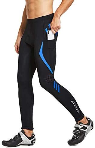 BALEAF Men's Bike Cycling Pants 4D Padded Bicycle Tights MTB Riding Leggings Zipper Pockets UPF50+
