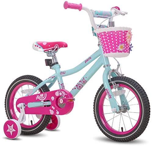 JOYSTAR Paris Girl's Bike for Ages 3-9 Years Old, Children Bike with Training Wheels for 12″ 14″ 16″ 18″ Kid's Bike, Kickstand for 18″ Kids Bicycle, Blue & Pink