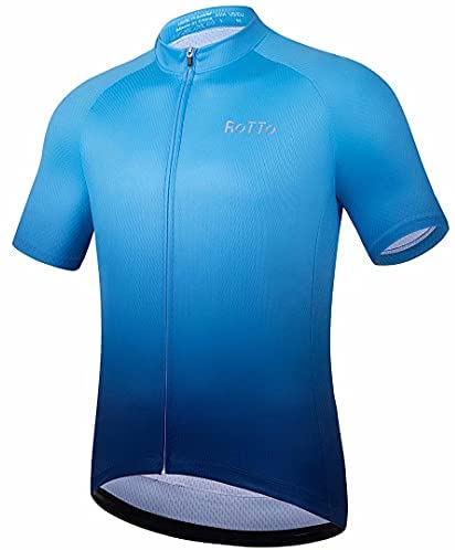 ROTTO Cycling Jersey Mens Bike Shirt Short Sleeve Gradient Color Series