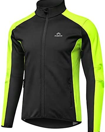 INBIKE Men's Cycling Jacket Biking Windbreaker Reflective Windproof Thermal Fleece Lined Cold Weather