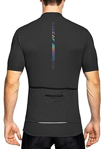 BALEAF Men's Cycling Jersey Biking Shirts 4 Rear Pockets Short Sleeve Wicking Bike Tops