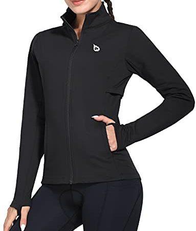 Baleaf Women's Fleece Full Zip Running Jacket Water Resistant Pockets Cycling Workout Track Jacket Thumb Holes