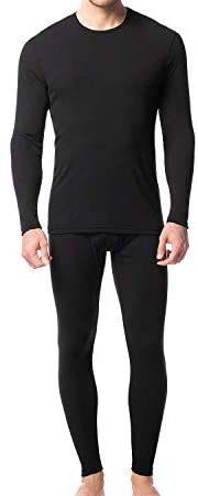 LAPASA Men's Thermal Underwear Set Base Layer Long John Lightweight Preswarm Heat Generation Top and Bottom M66