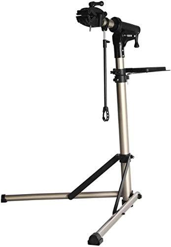 CXWXC Support de réparation de vélo, Pieds d'Atelier, en Aluminium, avec Plateau à Outils magnétique, Réglable, Léger, Portatif, pour Entretien et Réparation Bicyclette Champagne