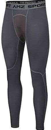 AMZSPORT Uomo Leggings da Compressione Pantaloni da Corsa Calzamaglia Sportiva Palestra