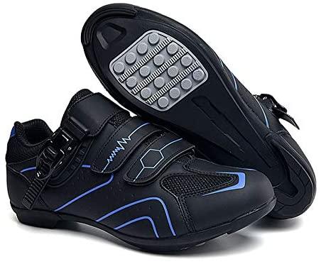 tangjiu Chaussures de Cyclisme Antidérapantes, Chaussures de Vélo de Route et de Montagne en Fibre de Carbone Respirantes, Chaussures de Sport Assistées avec Bandes Réfléchissantes