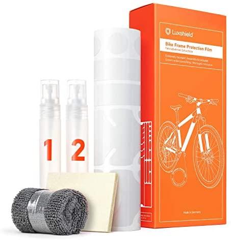 Luxshield Película Protectora de Pintura para Bicicleta Electrica, BMX, Carretera, Trekking, etc. – Conjunto para Cuadro de 20 Piezas contra Golpes de Piedras