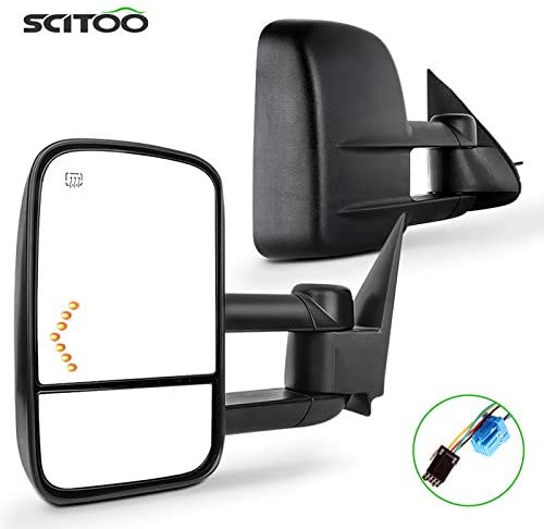 SCITOO Towing Mirrors Pair Rear View Mirrors fit for 2003-2007 for Chevy for GMC for Silverado for Sierra (07 Classic Models) with Power Heated Turn Signal Manual Telescoping Folding Feature