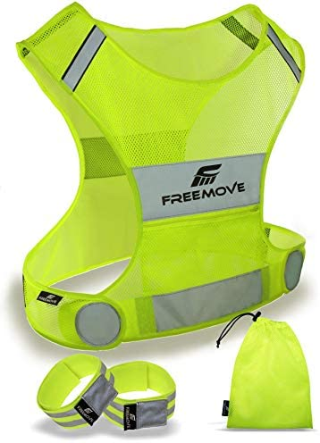 Reflective Vest Running Gear – Be Visible Stay Safe – Ultralight & Comfy – Large Pocket with Adjustable Waist – Safety Vest in 6 Sizes for Running, Cycling, Walking – Included 2 Reflective Bands & Bag