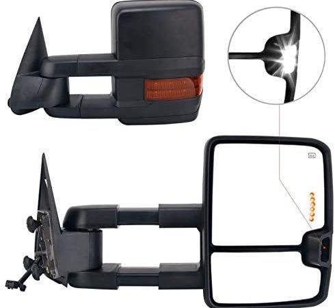 Perfit Zone 2007-2014 Silverado Towing Door Side Mirrors Power Heated LED Signal Lamps Passenger Right Side Driver Left Side Tow Mirror Pair Set