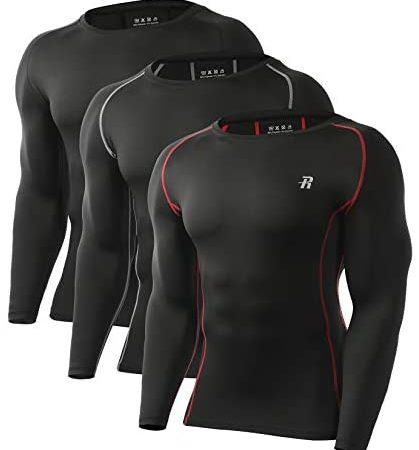 Runhit 2~3 Pack Long Sleeve Compression Shirts for Men Athletic Workout T-Shirts