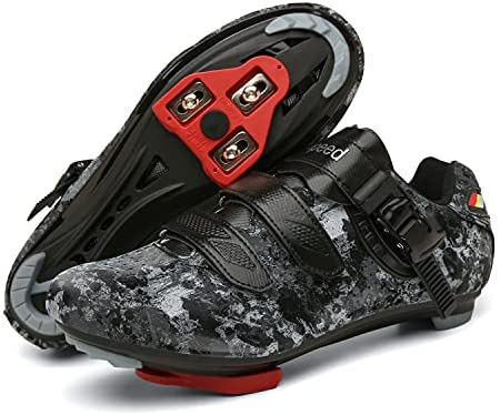 Mens Women Cycling Shoes,Indoor Peleton Bike Shoes with Look Delta,Outdoor Mountain Road Bike Lock Pedal Bike Shoes