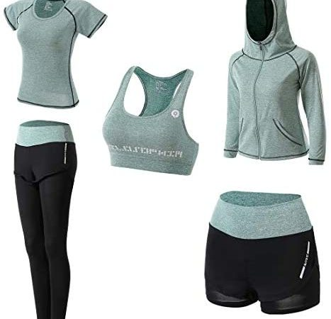 JULY'S SONG Workout Clothes for Women 5 PCS Exercise Yoga Outfits Set