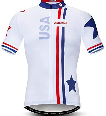 Cycling Jersey Men's Short Sleeve Full Zip Moisture Wicking, Breathable Running Top