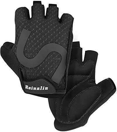 Reinalin fietshandschoenen mountainbike handschoenen halve vinger fietshandschoenen schokabsorberende anti-slip ademende MTB-racefietshandschoenen voor mannen/vrouwen