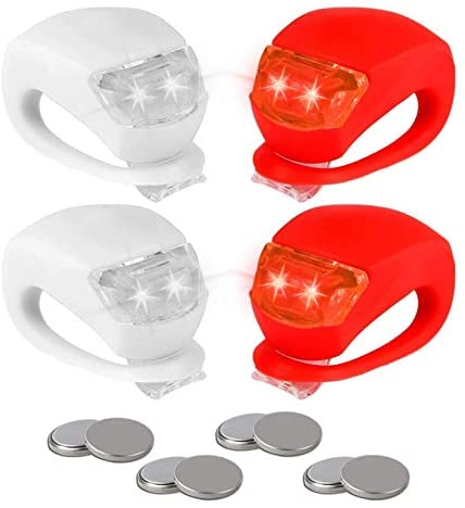 REFUN Bicycle Light – Front and Rear Silicone LED Bike Light Set – High Intensity Multi-Purpose Water Resistant Headlight – Taillight for Cycling Safety,Batteries Included,4 Pack