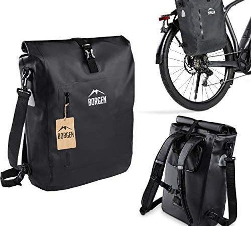 Borgen Fahrradtasche für Gepäckträger 3in1 Fahrrad Rucksack I Gepäckträgertasche I Umhängetasche – Kombi Fahrrad Tasche – 100% wasserdicht und reflektierend mit herausnehmbarer Laptoptasche