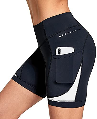 BALEAF Women's 5″ Bike Shorts 4D Padded Pockets Cycling Shorts Mountain Biking Bicycle Spin Gel UPF50+
