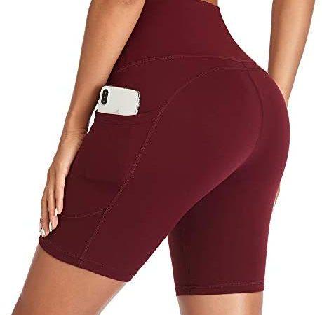 Gimdumasa Korte Sportbroek Dames Hoge Taille Running Shorts voor Vrouwen Tummy Control Fietsshorts Sports Workout Leggings Yoga Shorts met Zakken GI371