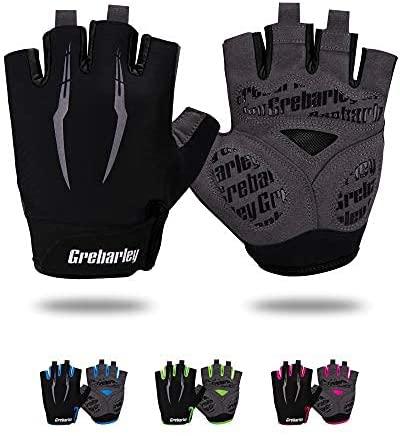 Grebarley Fietshandschoenen voor Mannen Vrouwen Fietshandschoenen MTB Handschoenen Mountainbike Handschoenen Anti-slip Schokabsorberende Ademende Half Vinger Fietshandschoenen