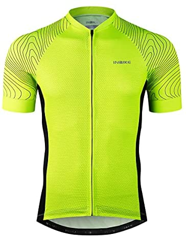 INBIKE Men's Loose fit Cycling Jersey Full Zip Moisture Wicking Short Sleeve Tops Breathable Basic Shirts for Sports