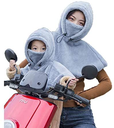 Parents-Child Winter Fleece Balaclava Cape Full Hood Hat with Face Wrap Scarf