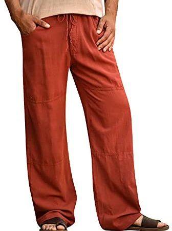 Pantaloni di lino da uomo, Casual Pantaloni in Lino di Cotone da Uomo Pantalone Tuta Uomo Elasticizzati alla Moda, Pantaloni da Jogging da Uomo