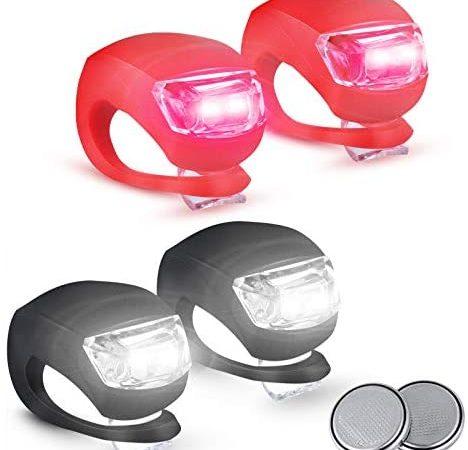 Vivibel Set Luci per Biciclette 3 Modalià, Impermeabili Luce per Bici a LED in Silicone 2 Batterie Extra Incluse Luci Bicicletta LED luci LED per Bicicletta Luce Bici Anteriore e Posteriore luci Bici