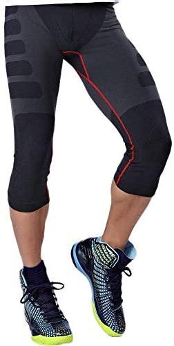 HuntDream Herren Strumpfhosen 3/4 Capri Compression Hosen Baselayer Cool Dry Sport Strumpfhosen Leggings