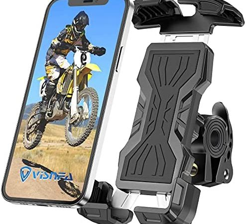 visnfa New Bike Phone Mount Holder Two Connectors for Handlebar Diameter 15-40mm 360° Rotatable Universal Bicycle Motorcycle Scooter Accessories Handlebar Phone Clip Suitable for 4.7″-6.8″ Smartphone