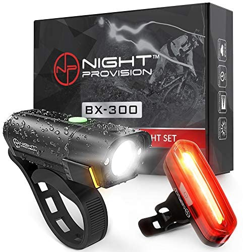 BX-300 Rechargeable Bike Light Set – Powerful Front and Back Lights, Bicycle Accessories for Night Riding, Cycling Safety Best Headlight with USB Tail Rear for Adults Kids Men Women Road Mountain