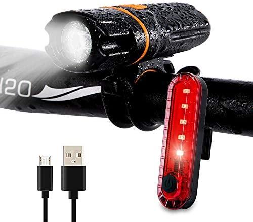 Wastou Luci per Bici, Luce Anteriore per Bici Super Brillante, Luce per Bicicletta Impermeabile IPX6 a 6 modalità con retroilluminazione USB Ricaricabile (Cavo USB Incluso)
